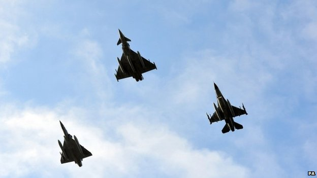 French Mirage 2000c, British Typhoon and Danish F16 fly over the Nato summit in Wales, 5 September 2014