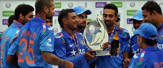 India with the one-day series trophy