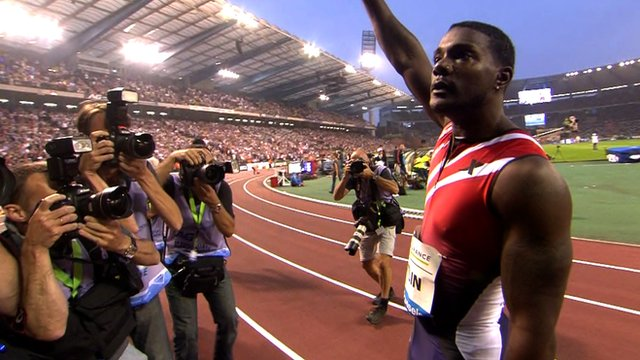 Justin Gatlin celebrates winning the 100m at the Diamond League in Brussels