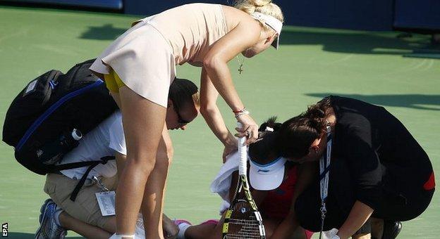 Caroline Wozniacki shows her concern