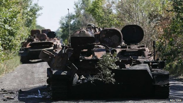 Ukrainian armoured personnel carriers burnt out in Mnogopillya, 5 Sept
