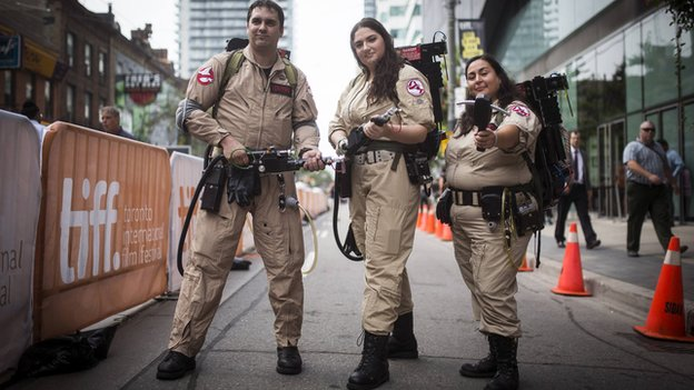 Fans dressed as Ghostbusters