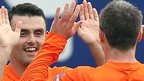 Eoin Bradley celebrates with Kevin Braniff after scoring in Glenavon's 4-1 win over Institute
