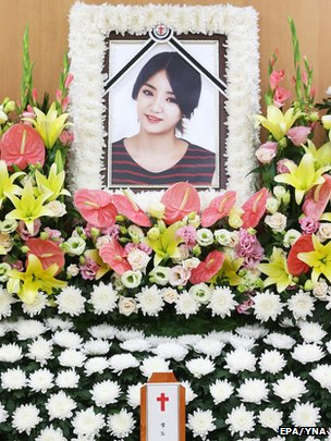A portrait of South Korean singer EunB at the funeral parlour of the Korea University Hospital in Seoul