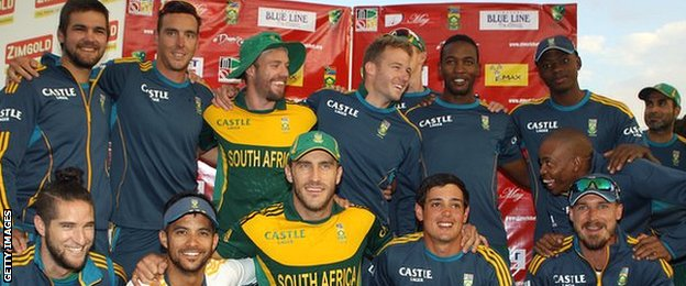 South Africa celebrate winning the tri-series
