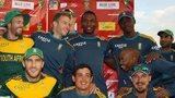 South Africa celebrate winning the tri-series