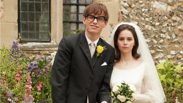 Eddie Redmayne playing Stephen Hawking