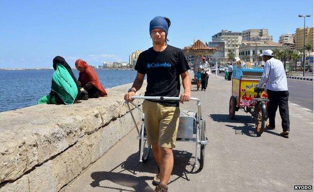 Masahito Yoshida in Alexandria, Egypt, at the start of his trek across Africa