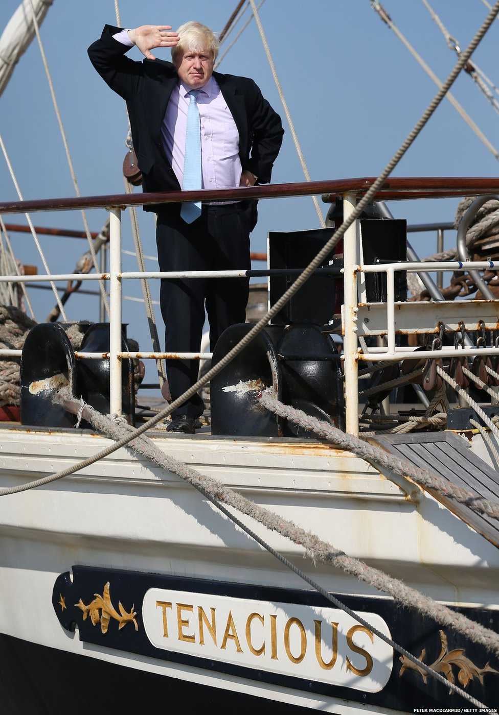 Mayor of London Boris Johnson salutes for photographers during a visit to  Training Ship Tenacious on the River Thames