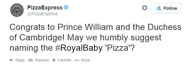 Pizza Express: May we humbly suggest naming the #Royalbaby 'pizza#