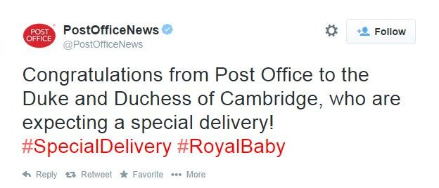 Post Office: Congratulations from Post Office to the Duke and Duchess of Cambridge, who are expecting a special delivery