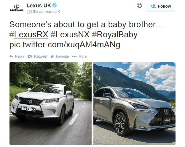 Lexus: Someone's about to get a baby brother (a picture of two different Lexus cars)