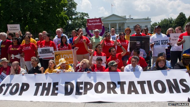 Immigration reform protestors gather outside the White House in August 2014.