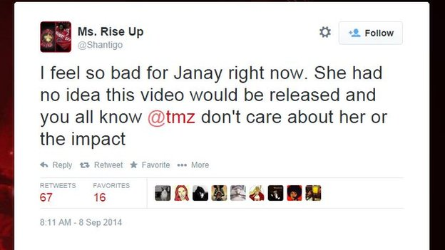 Tweet from Ms. Rise Up expressing sympathy for Janay Palmer