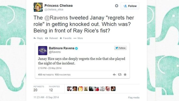 Tweet by Princess Chelsea condemning an earlier Baltimore Ravens tweet