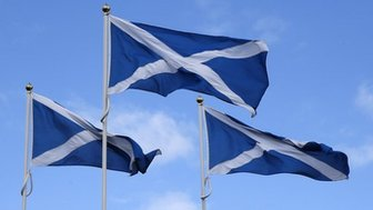 Saltire flags blowing in the wind