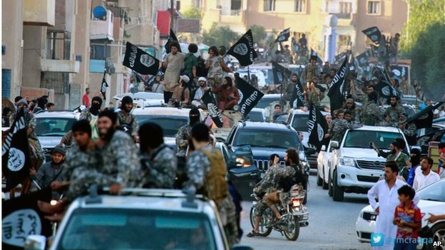 Islamic State fighters parade in Raqqa (image by Islamic State's Raqqa Media Group)