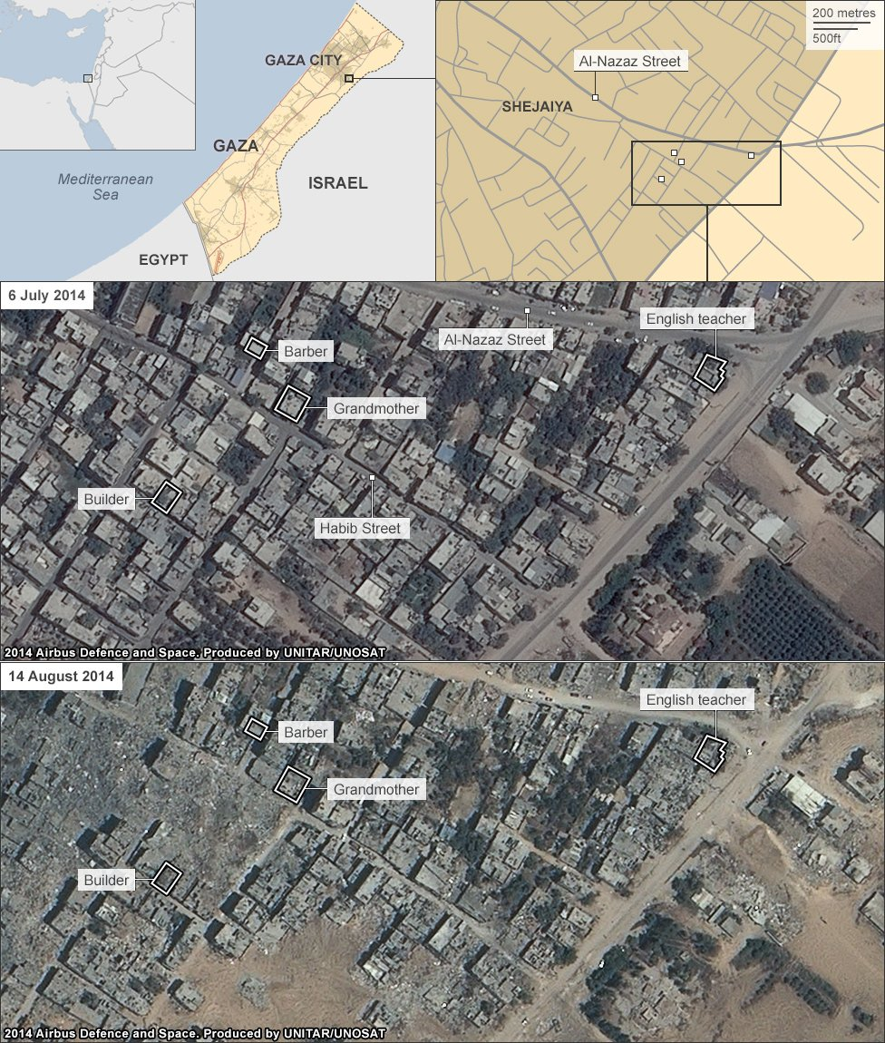satellite imagery showing the part of Shejaiya where the interviewees live