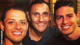 (Left to right) Javier Hernandez, James Rodriguez and Keylor Navas