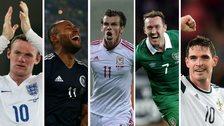 Wayne Rooney, Ikechi Anya, Gareth Bale, Aidan McGeady, Kyle Lafferty
