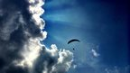 A paraglider in the Brecon Beacons