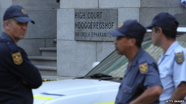 Security officers outside South Africa's Western Cape High Court