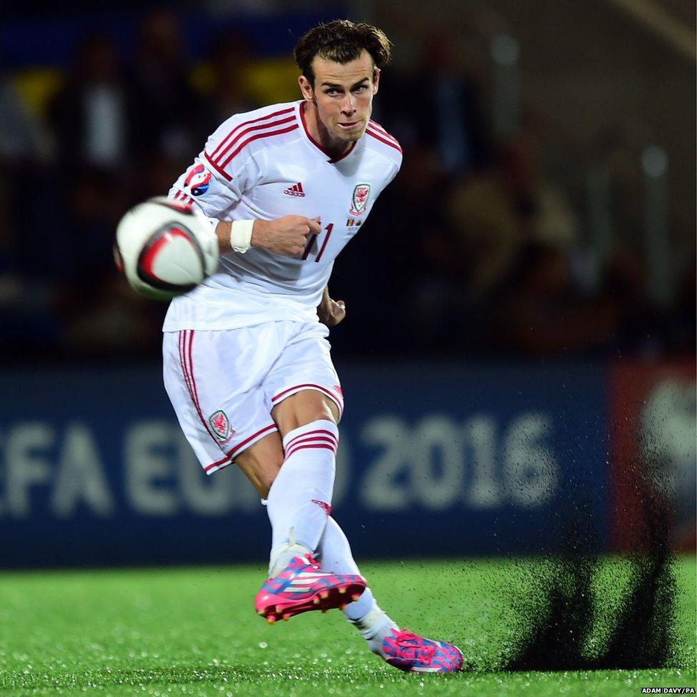 Wales' Gareth Bale scores