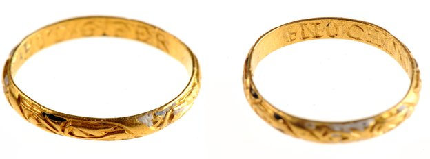 Two views of the ring. Two views of the ring The engraving on the ring translates as 'look on the giver, not the gift'