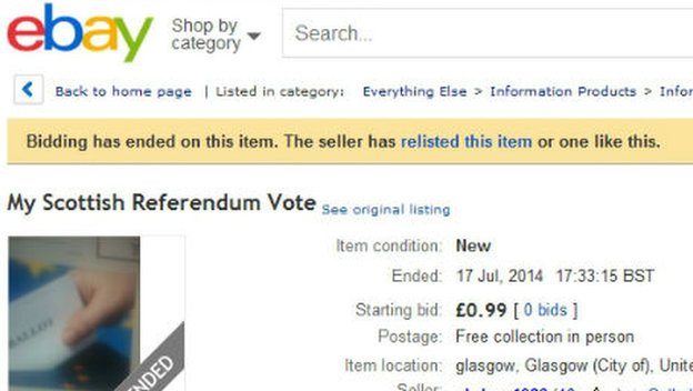 Ebay listing for referendum vote