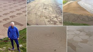 Simon Beck and his sand art at Brean Beach, Somerset