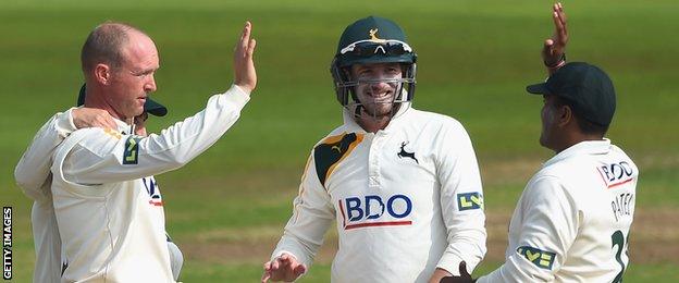 Gary Keedy takes a wicket