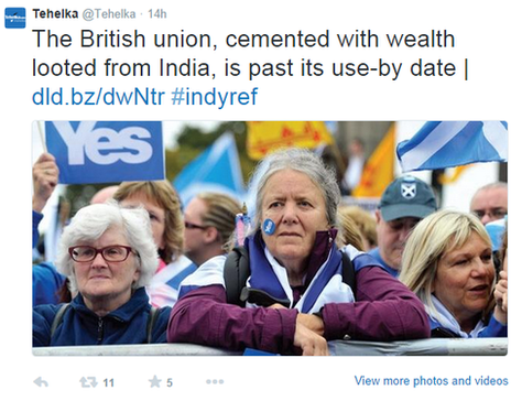 "A tweet reading ""The British union, cemented with wealth looted from India, is past its use-by date"""