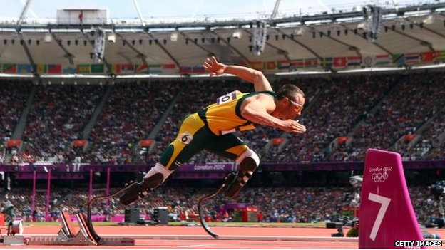 Oscar Pistorius of South Africa competes at the London Olympics - August 2014