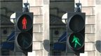 A red pedestrian crossing light and green pedestrian crossing light