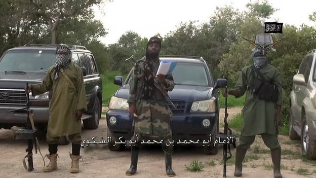 File picture of Boko Haram leader Abubakar Shekau (centre)