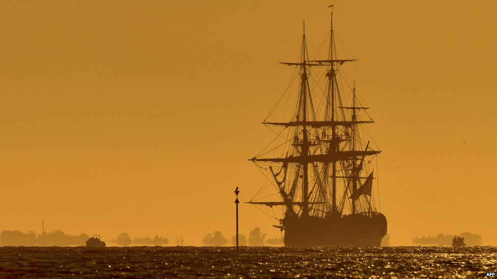 A reconstruction of the French frigate Hermione undertakes sea trials off the west coast of France (11 September 2014)