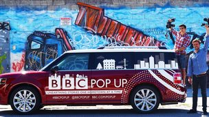 BBC journalists Matt Danzico and Benjamin Zand with the BBC Pop Up car