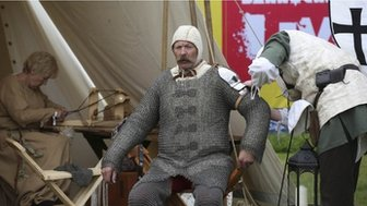 Actors take part in the reenactment of the battle of Bannockburn