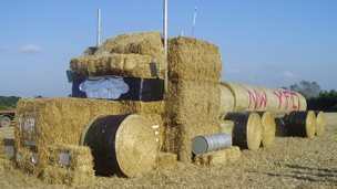 A tanker made out of hay bales