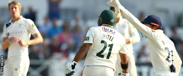 Samit Patel is stumped by Jonny Bairstow