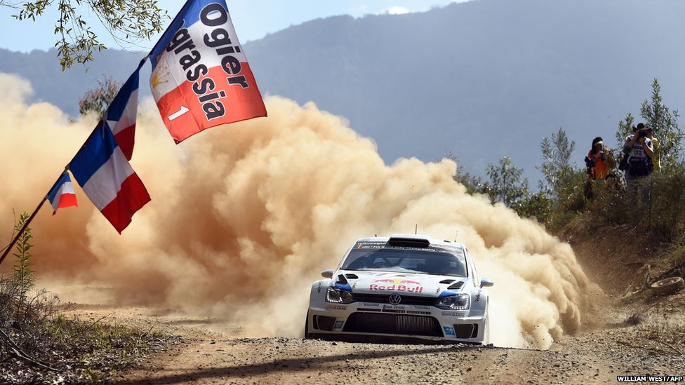 French rally driver Sebastien Ogier powers his Volkswagen Polo