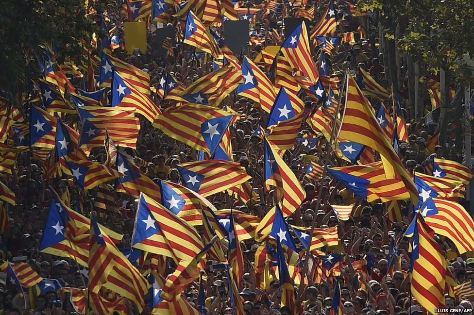Flags are waved during celebrations of Catalonia National Day in Barcelona