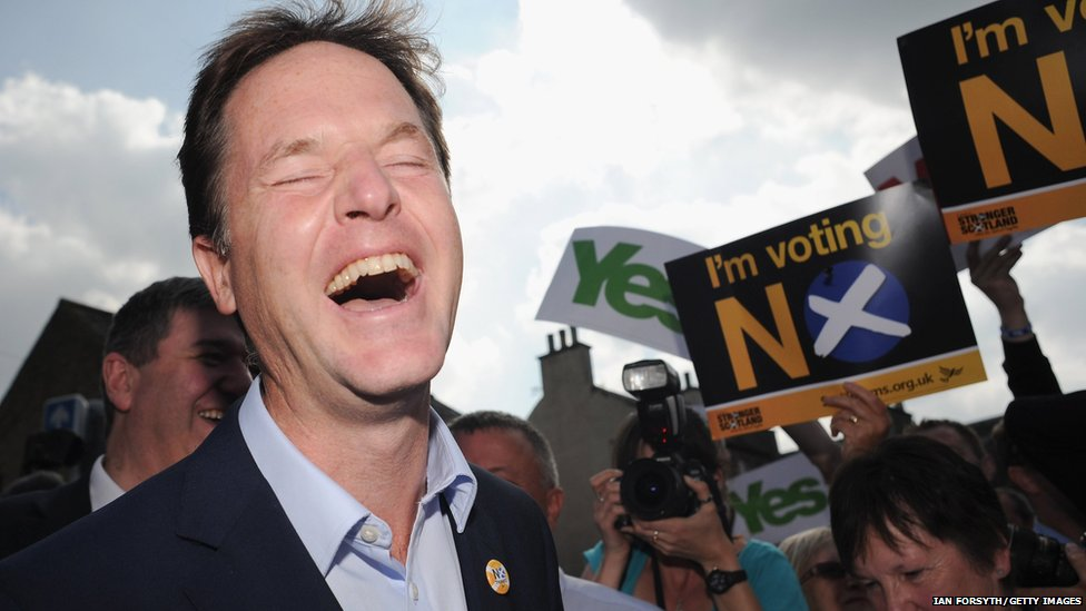 """Liberal Democrat Deputy Prime Minister Nick Clegg reacts as he speaks to """"No"""" campaign supporters about the Scottish referendum"""