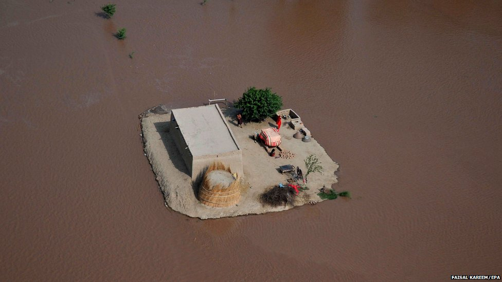 An aerial view of flooded areas on the outskirts of Multan, Punjab province, Pakistan