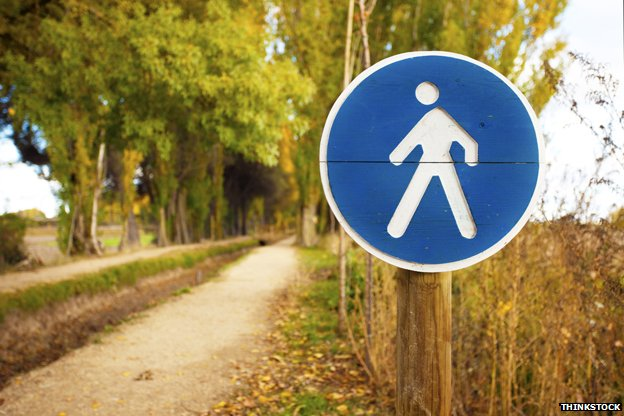 Pedestrian sign by avenue of trees