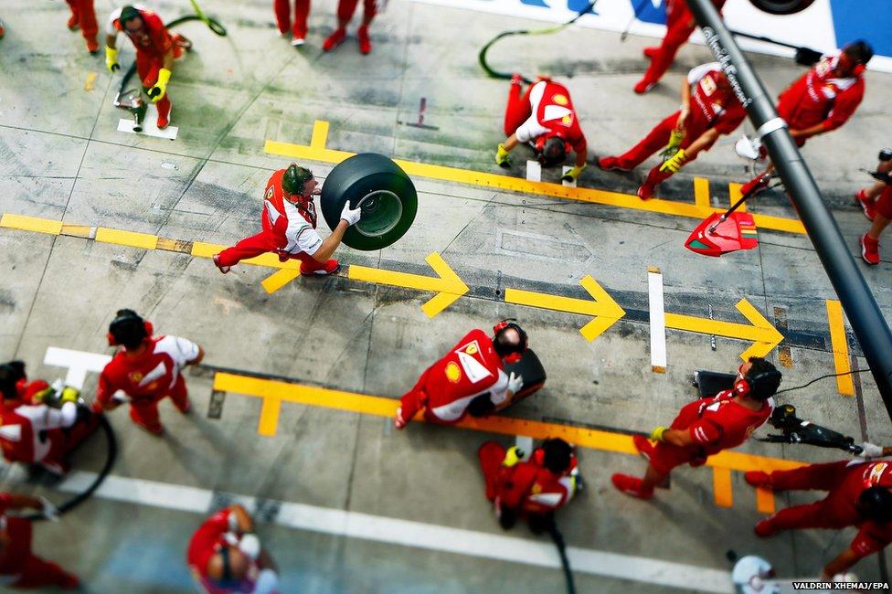 A picture taken with a tilt-shift lens shows the mechanics of Scuderia Ferrari
