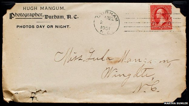 An envelope, dated 1901, sent by Hugh Mangum