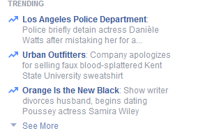 Facebook trending page