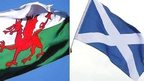 Welsh and Scottish flags