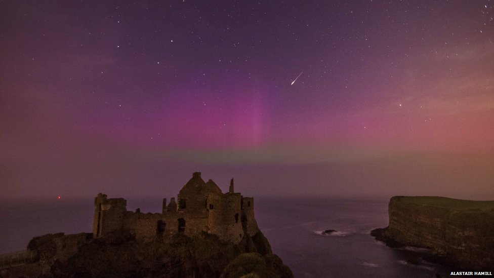 Dunluce Castle northern lights
